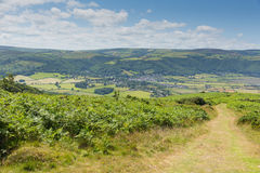 Beautiful Somerset countryside towards Porlock near Exmoor from the south west coast path. England UK stock photo