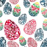 Beautiful sophisticated abstract graphic bright floral herbal festal Easter eggs diagonal arranged group. Watercolor hand sketch Royalty Free Stock Images