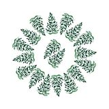 Beautiful sophisticated floral herbal circle of green grass like a tree watercolor hand illustration. Perfect for greeting cards, textile, wallpapers Stock Photos
