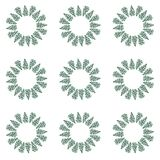 Beautiful sophisticated floral herbal circle of green grass pattern watercolor hand sketch. Perfect for greeting cards, textile, wallpapers Stock Images