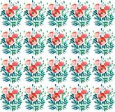Beautiful sophisticated gorgeous pattern of red poppies and buds with green leaves on white background watercolor. Hand illustration Royalty Free Stock Photo