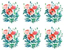 Beautiful sophisticated gorgeous pattern of red poppies and buds with green leaves on white background watercolor. Hand sketch Royalty Free Stock Photo