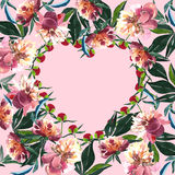 Beautiful sophisticated spring heart of a red beige powdery pink peonies with green leaves on pink background Stock Images