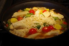 Asian Soup Dish. A beautiful soup of pot stickers and noodles with tomatoes and mushrooms royalty free stock photos