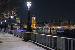 Beautiful southbank at River Thames by night with Big Ben Westminster Stock Images