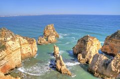 Beautiful southcoast near Lagos Portugal. Beautiful southcoast near Lagos in the Algarve Portugal Royalty Free Stock Photo