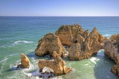 Beautiful southcoast near Lagos Portugal Stock Photography