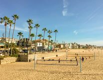 Beautiful Southern California beach scene with volleyball, palm trees, sunshine, and waterside homes royalty free stock image