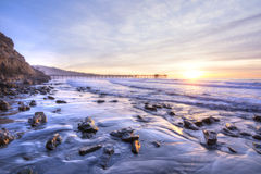 Beautiful southern California coastline at sunset Stock Images