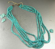 Beautiful Southwestern jewelry multiple strands of Blue Turquoise heishi necklace Royalty Free Stock Photography