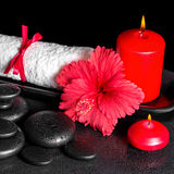 Beautiful spa background of hibiscus flower with dew, red candle Stock Images