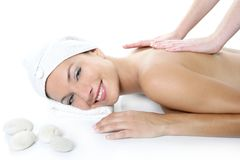 Beautiful spa blue eyes woman having massage Royalty Free Stock Photos