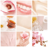 Beautiful spa collage. In pink stock photography