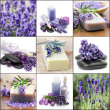 Beautiful Spa collage. Nine lavender spa pictures Royalty Free Stock Image