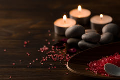 Beautiful Spa composition with aroma candles on wooden. Stock Photography