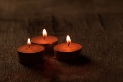 Beautiful Spa composition with aroma candles on wooden Stock Image
