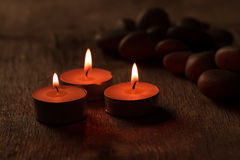 Beautiful Spa composition with aroma candles Royalty Free Stock Images