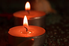 Beautiful Spa composition with aroma candles on wooden Stock Photos