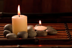 Beautiful Spa composition with aroma candles on wooden Royalty Free Stock Image