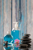 Beautiful spa composition hot stone and essential Stock Image