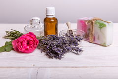 Beautiful spa composition with lavender on table royalty free stock photo
