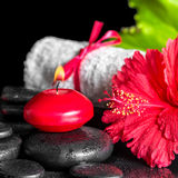 Beautiful spa composition of red hibiscus flower with dew, candl Royalty Free Stock Photo
