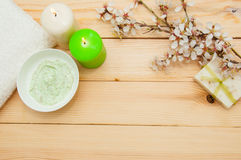 Beautiful spa composition with spring flowers Royalty Free Stock Photo