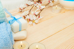 Beautiful spa composition with spring flowers Stock Image