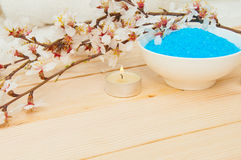 Beautiful spa composition with spring flowers Stock Images
