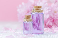 Beautiful spa composition with two bottles of aroma oils, fresh flowers on pink background, selective focus. Beautiful spa composition, aromatherapy with aroma Stock Photos