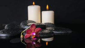 Beautiful spa concept  of deep purple orchid (phalaenopsis) Stock Photo