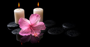 Beautiful spa concept  of delicate pink hibiscus, candles, Royalty Free Stock Images
