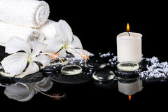 Beautiful spa concept of delicate white hibiscus, zen stones  Stock Image