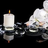 Beautiful spa concept of delicate white hibiscus, zen stones wit Royalty Free Stock Photo