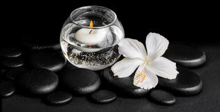 Beautiful spa concept of dew white hibiscus flower and candles i Stock Image
