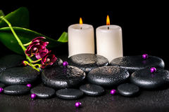 Beautiful spa concept of flower orchid, phalaenopsis, candles, Stock Photo