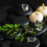 Beautiful spa concept of green twig fern, ice and candles on zen Royalty Free Stock Image