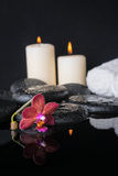 Beautiful spa concept of zen stones with drops, purple orchid Royalty Free Stock Photo