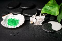 Spa concept of zen and Yin-Yang stones, white orchid Royalty Free Stock Photos