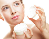 Beautiful spa girl holding jar of cream Stock Photography