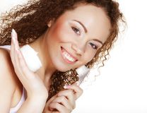 Beautiful spa girl holding jar of cream Royalty Free Stock Photos