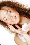 Beautiful spa girl holding jar of cream Stock Images