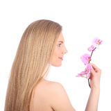 Beautiful Spa Girl With Orchid Flowers Skincare concept Stock Photo