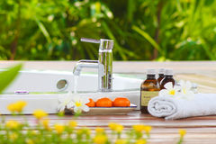 Beautiful outdoor spa at home Royalty Free Stock Photos