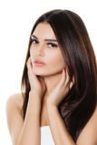 Beautiful Spa Model Woman with Long Healthy Hair. And Fresh Skin Isolated. Hair Care, Spa Beauty and Cosmetology Concept Stock Photography