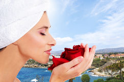 Beautiful spa portrait over a resort background Royalty Free Stock Images