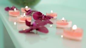 Beautiful spa samenstelling met orchideebloemen op lijst langzame motie stock video