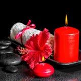 Beautiful spa samenstelling van hibiscusbloem met dauw, rode cand Royalty-vrije Stock Afbeelding