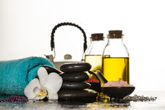 Beautiful Spa Set with Spa Products, Towel and Hot Stones. Horiz Stock Images
