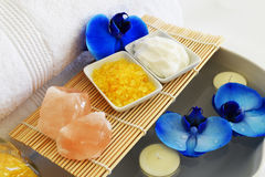 Beautiful spa setting with blue orchid flower Royalty Free Stock Photos